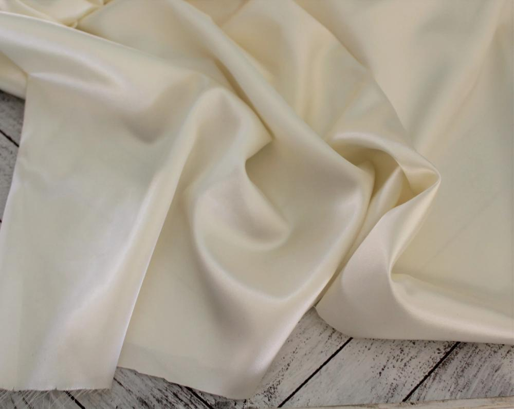 End of Bolt: 4 yards of Famous Maker Satin Charmeuse Cream Woven