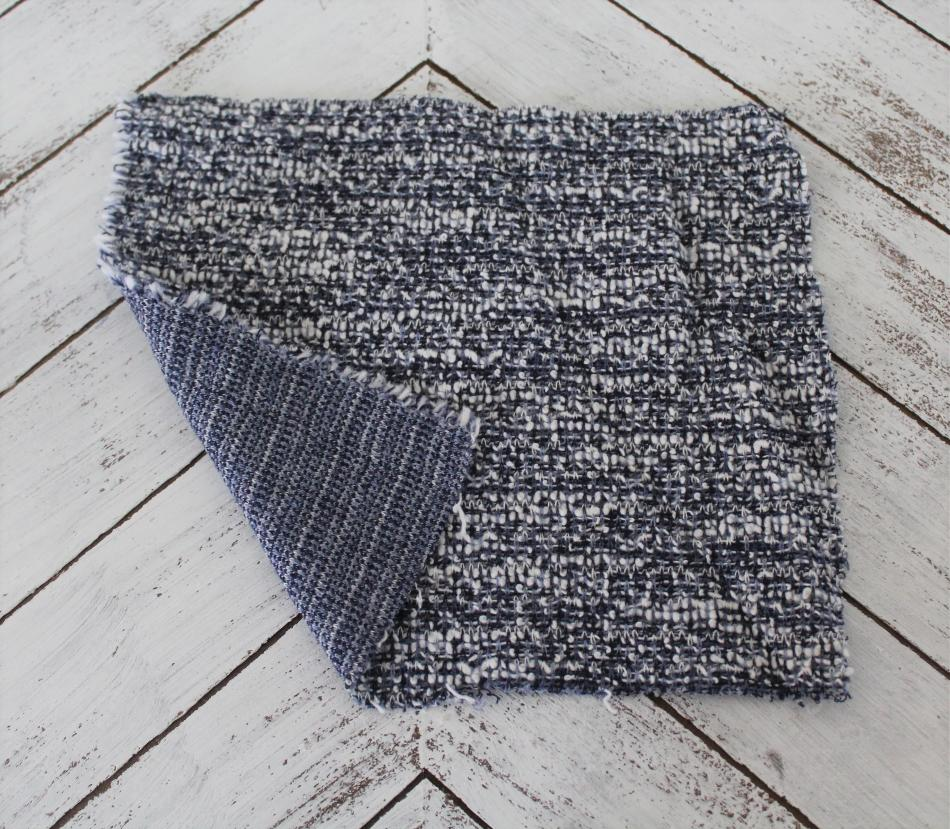 End of Bolt: 3.5 yards of Famous Maker Blue Sweater Boucle Knit
