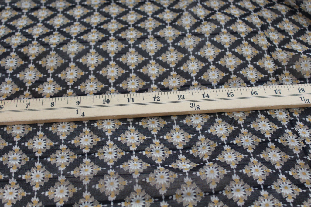 End of Bolt: 3-5/8th yards of Famous Maker Yellow Floral Silk Woven