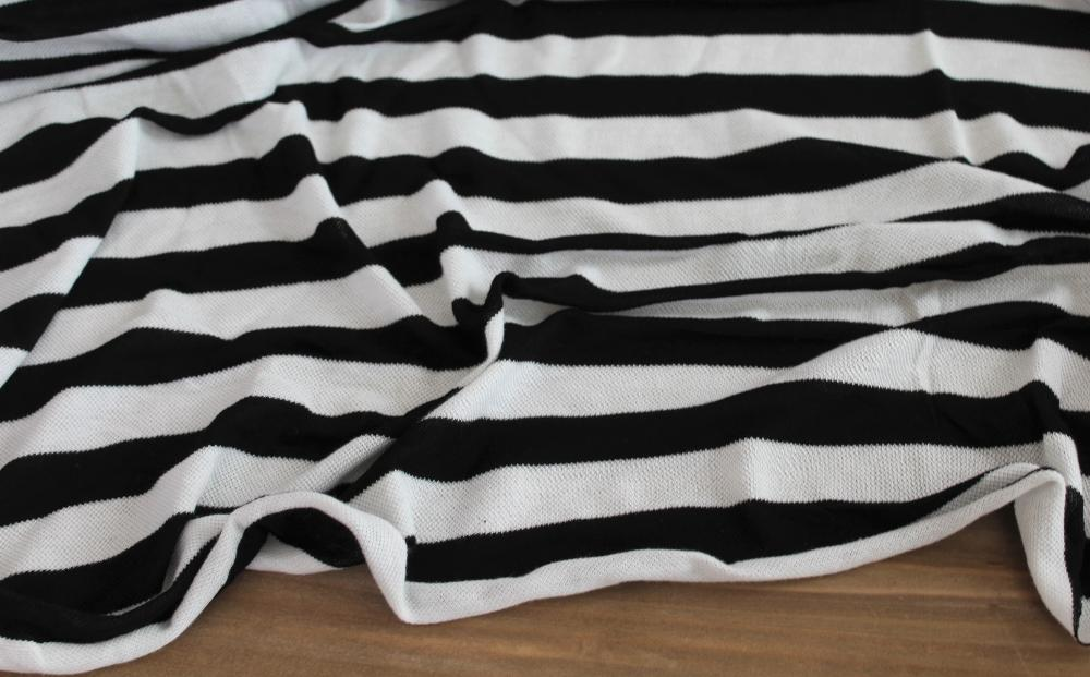 End of Bolt: 3 yards of Black and White Stripe Knit