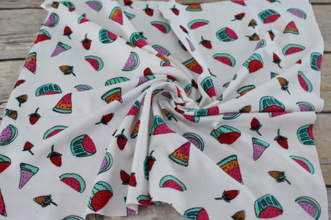 Double Brushed Ivory Watermelon & Strawberries Knit