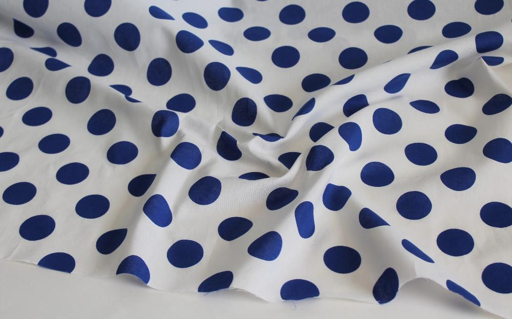 End of Bolt: 2 yards of Cotton Linen Royal Blue Dot Woven