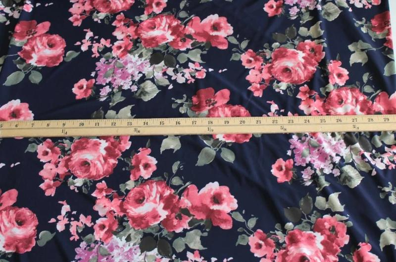 Designer Navy Romantic Roses ITY Knit