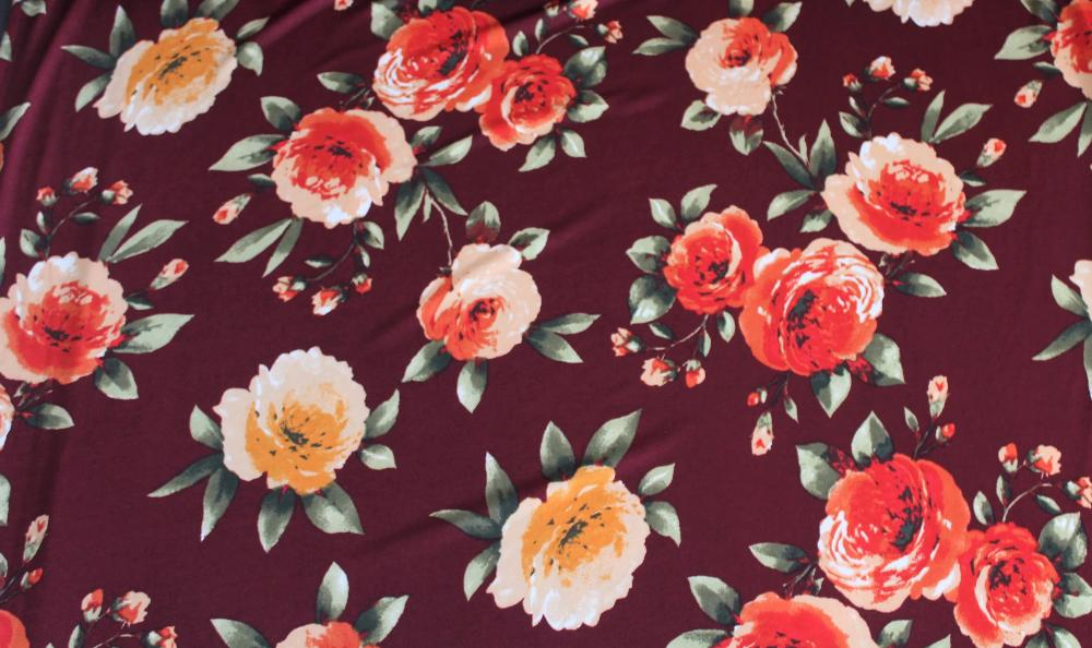 End of Bolt: 3 yards of Designer Burgundy Floral ITY Knit
