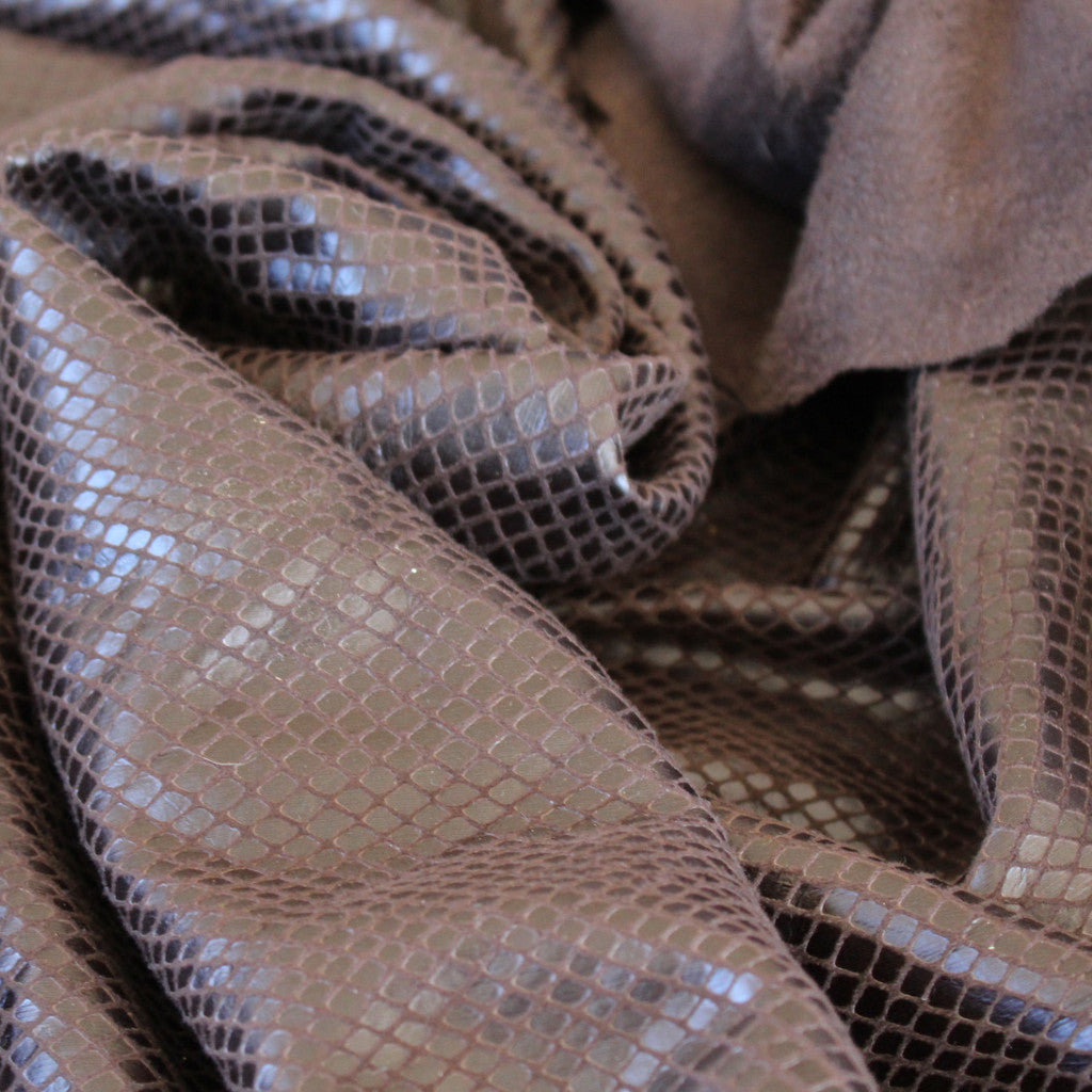 Faux Stretch Leather Mamba Brown Snakeskin Woven