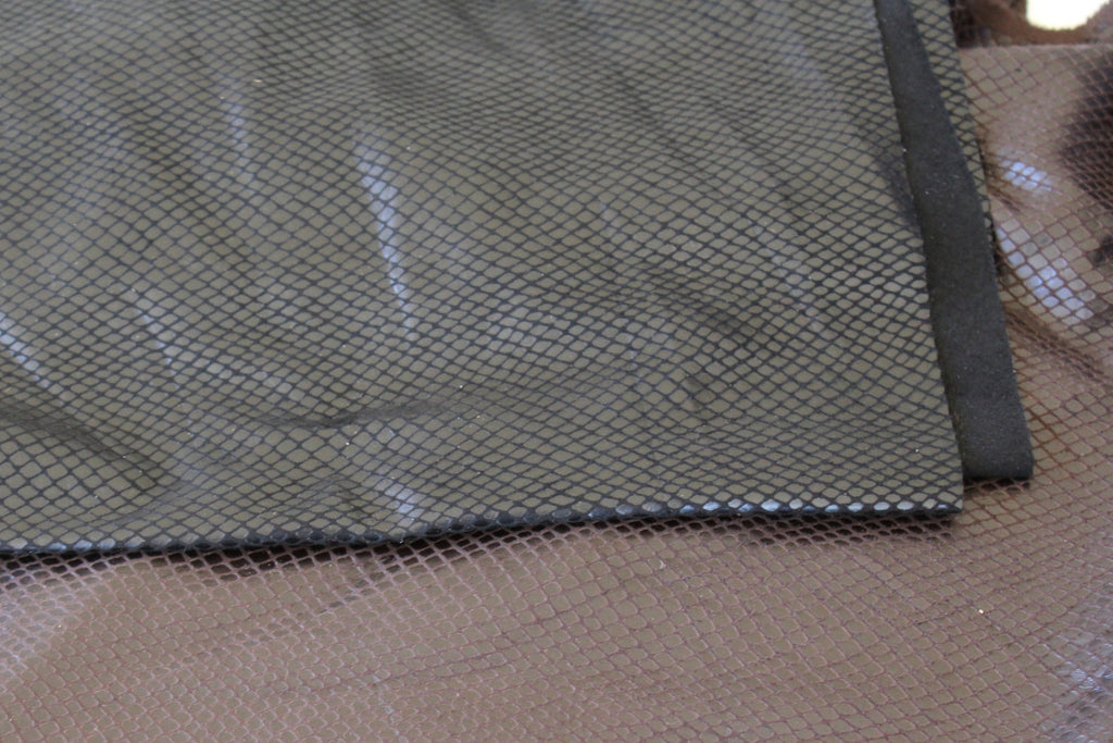 End of Bolt : 2-3/4th yards of Faux Stretch Leather Mamba Black Snakeskin Woven