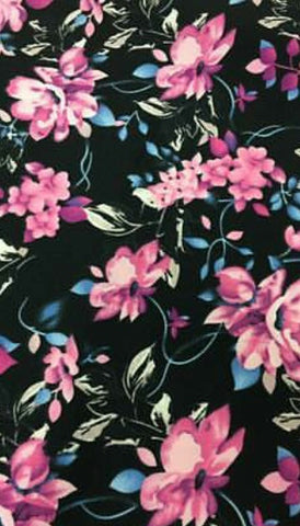 Annabella Double Brushed Poly Spandex Floral Knit by LA Finch Fabrics. Fashion Fabrics