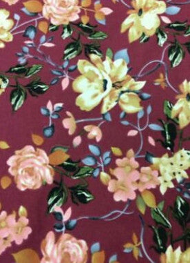 End of Bolt; 2 yards of Annabella Double Brushed Poly Floral Knit Burgundy