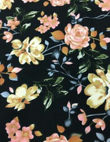 Annabella Double Brushed Poly Floral Knit Black & Rose