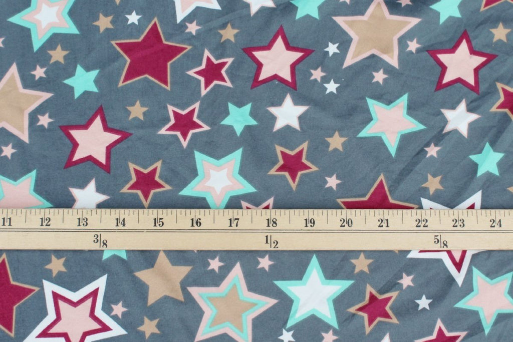 Double Brushed Burst of Stars Silver Gray Knit