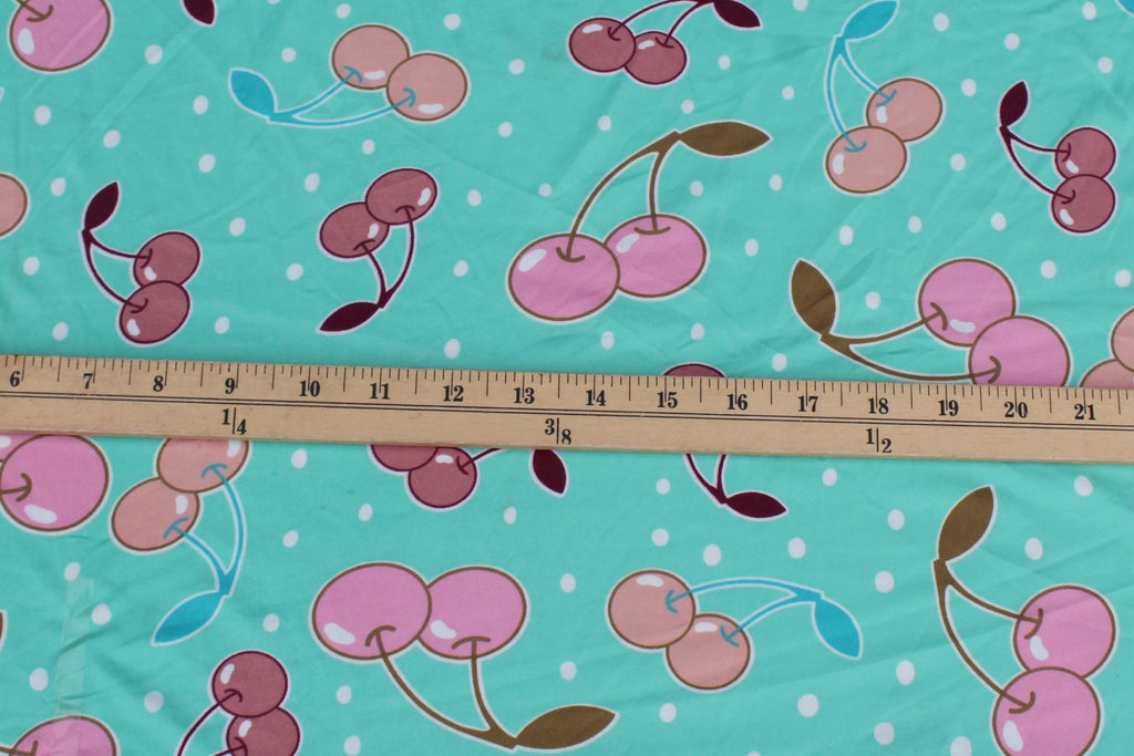 Double Brushed Novelty Cherries and Dots Mint Knit