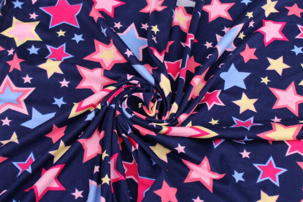 Double Brushed Burst of Stars Navy Knit