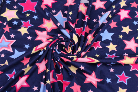 End of BOlt: 4 yards of Double Brushed Burst of Stars Navy Knit