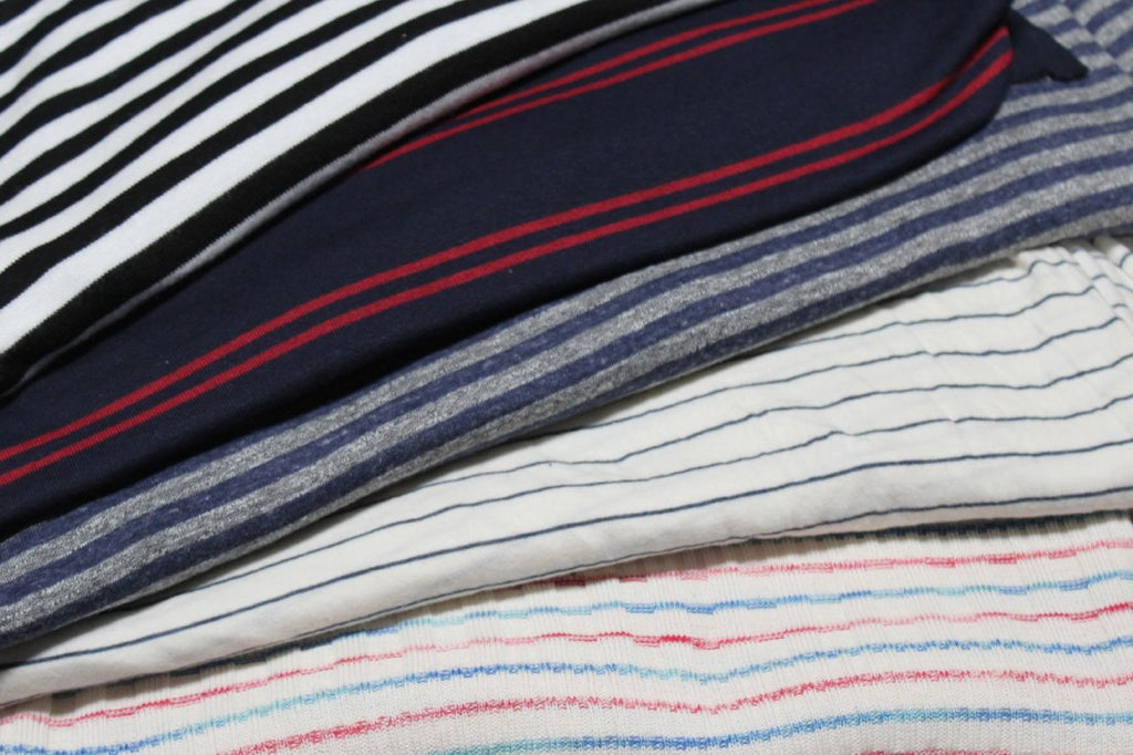 Famous Maker Modal Cotton Blend Cream and Navy Stripe Knit
