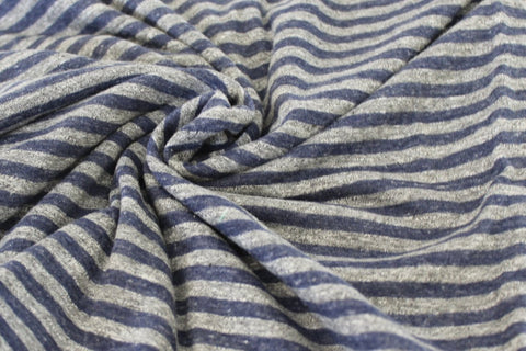End of Bolt :3-1/4th yards of Famous Maker Tri-Blend Small Stripe Heathered Stripe Jersey Knit