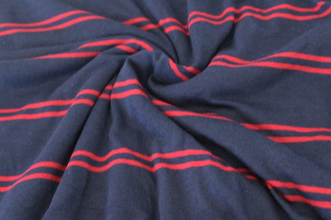 End of Bolt : 3 yards of Famous Maker Tri-blend Navy and Ruby Stripe Knit