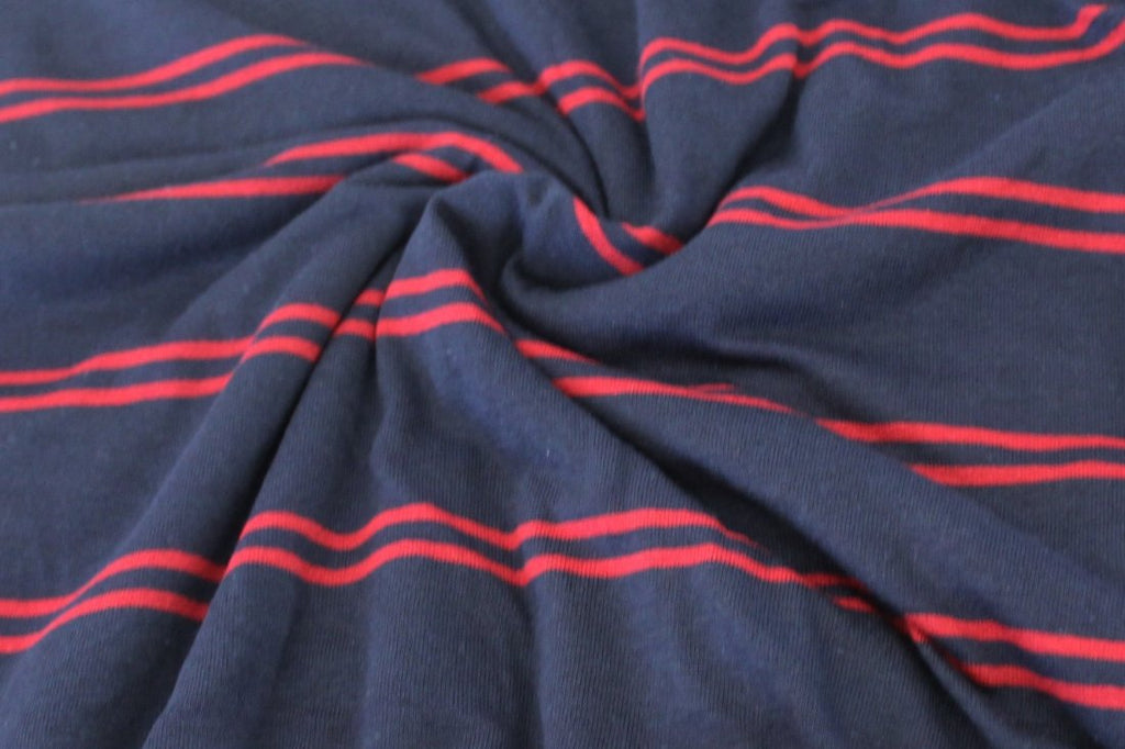 End of Bolt : 1-5/8th yards of Famous Maker Navy and Ruby Stripe Knit