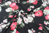 Double Brushed Poly Spandex Romantic Floral Black Knit