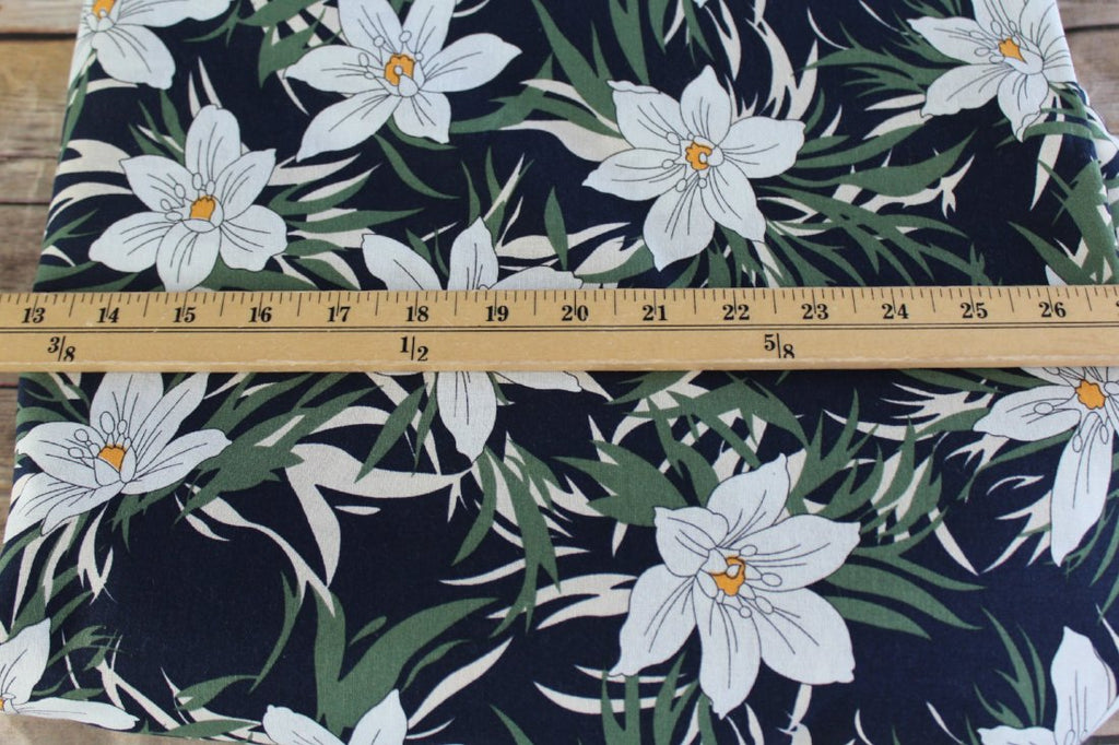 Fashion White Floral Breeze Navy Cotton Linen- Sold by the yard
