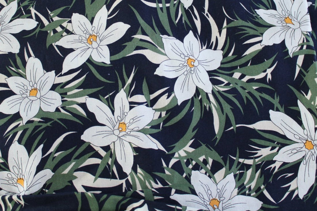 End of Bolt: 2 yards of White Floral Breeze Cotton Linen