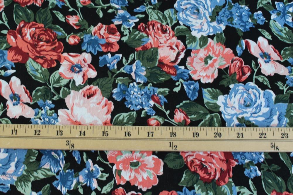 Fashion English Garden Black Cotton Linen Woven-Sold by the yard