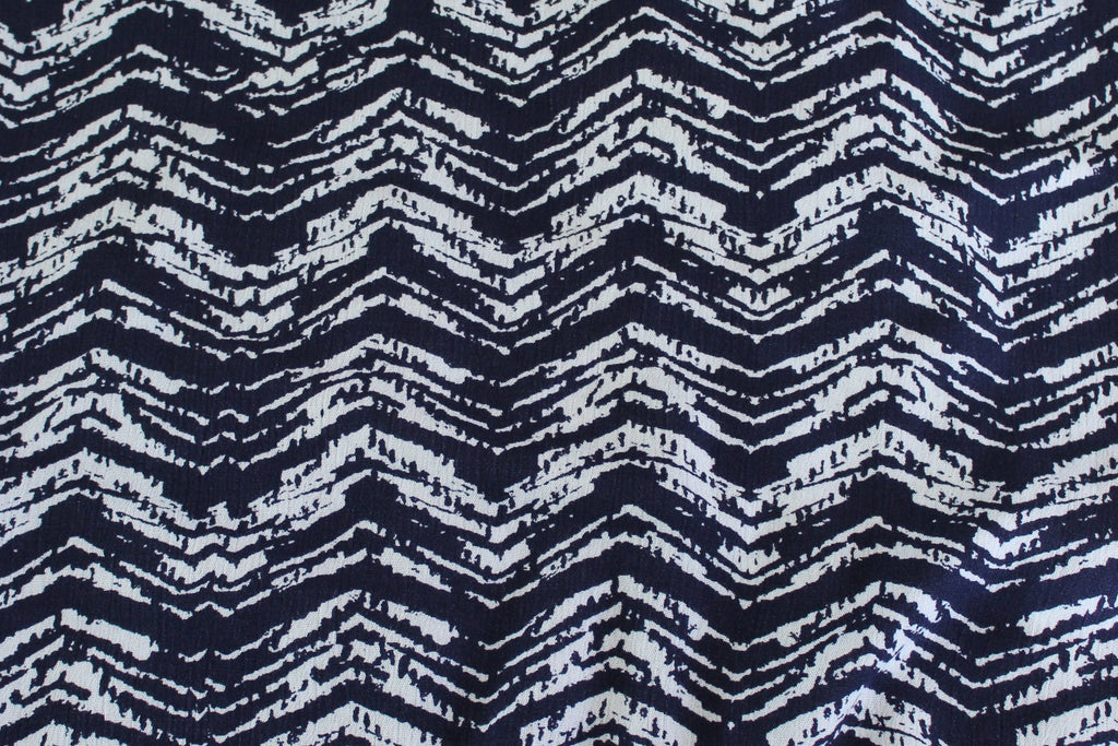 End of Bolt: 5 yards of Huntington Crinkle Rayon Gauze Navy Woven