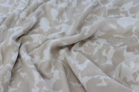 Designer Light Tan Abstract Rayon Challis