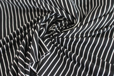 End of Bolt: 2-1/4th yards of Double Brushed Poly Spandex Stripes Black & White