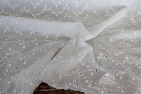 End of BOlt: 3 yards of Cotton Floral Vines Ivory Eyelet