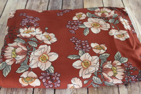 Double Brushed Rust Floral Retro Knit