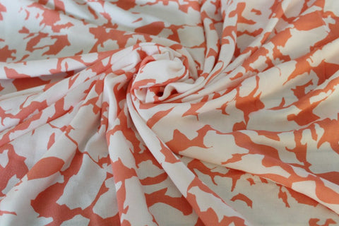 Designer Coral Abstract Rayon Challis