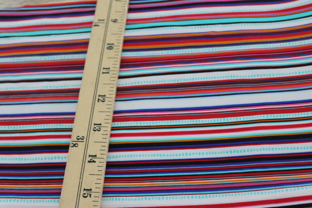 End of Bolt: 4 yards of Premium Nylon Spandex Swim Activewear Multi Stripes