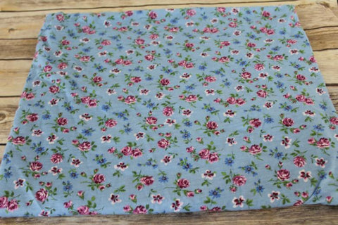 Garden Rose Blue Cotton Rayon Jersey USA Knit