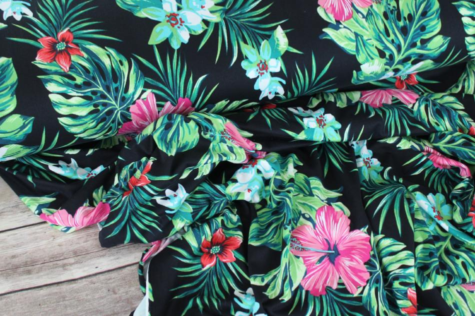 End of Bolt:4 yard of Double Brushed Bora Bora Tropical Floral Black Knit