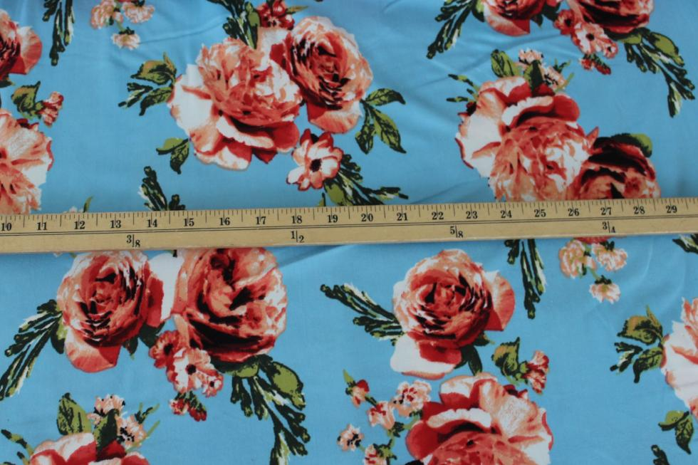End of Bolt: 2 yards of  Single Brushed Love Bound Sky Blue Floral Knit