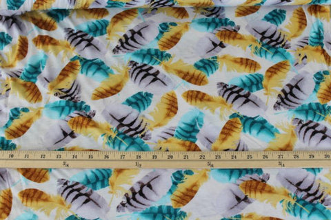 End of Bolt : 2-3/4th yards of Feathers Rayon Spandex Jersey Knit