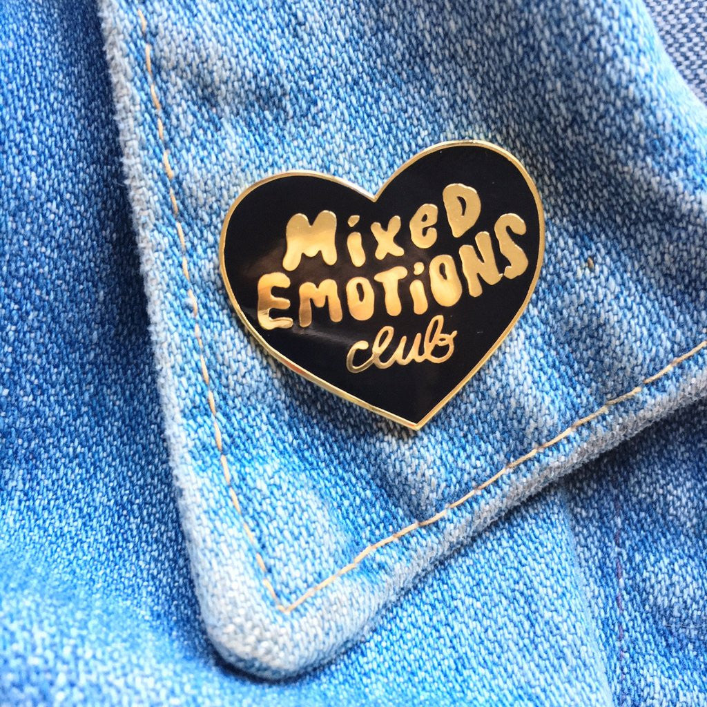 Lapel Pin Black Enamel Mixed Emotions Club