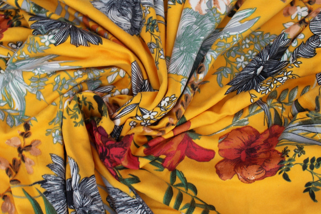 Double Brushed Arcadia Arboretum Yellow Floral Knit