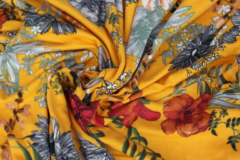 End of Bolt: 4.5 yards of Double Brushed Arcadia Arboretum Yellow Floral Knit