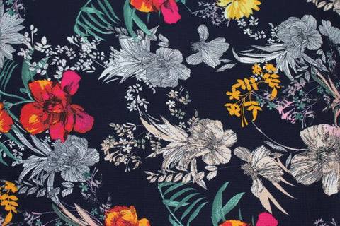 End of BOlt: 4 yards of Double Brushed Arcadia Arboretum Navy Floral Knit