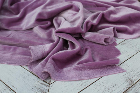 End of Bolt: 1-5/8th yards of  Lilac Purple Fashion Stretch Velvet Knit