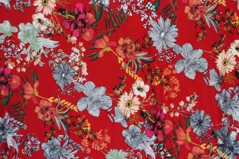 End of Bolt: 3 yards of  Double Brushed Arcadia Arboretum Red Floral Knit