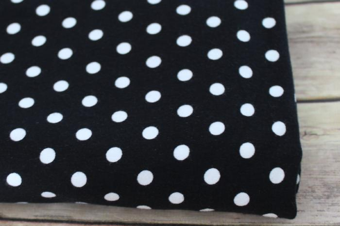 End of Bolt: 3-5/8th yards of Kaufman Black Dots Cotton Spandex Laguna Jersey Knit by Ann Kelle