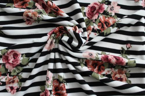 Garden Romance Floral and Stripe Liverpool Knit