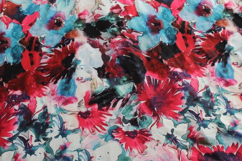 End of BOlt: 2-7/8th yards of Double Brushed Express Glam Watercolor Floral Knit