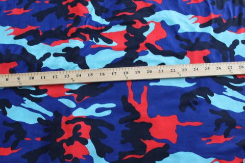 End of Bolt: 1-1/8th yards of Double Brushed Camouflage Red And Royal Blue Knit