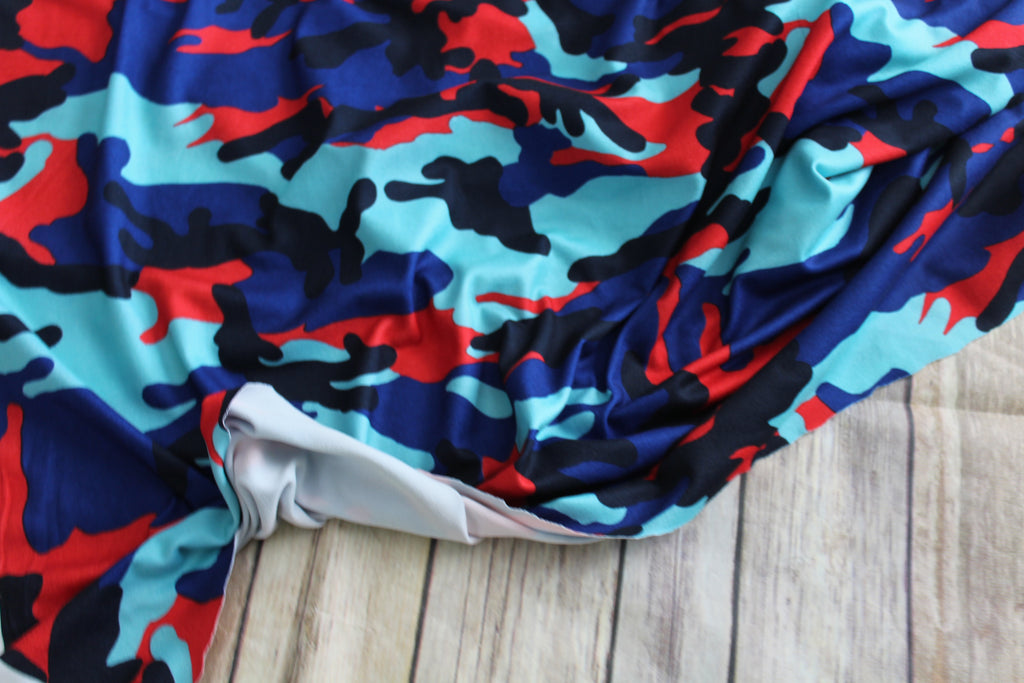 Double Brushed Camouflage Red And Royal Blue Knit