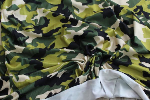 End of BOlt : 3.5 yards of  Double Brushed Camouflage Green and Black Knit