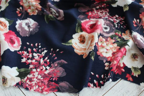 Gathering Roses Navy Floral Rayon Challis