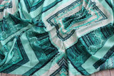 End of Bolt: 3.5 yards of Boho Green Large Scale Rayon Challis